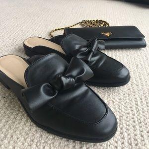 Black Bow loafers slides